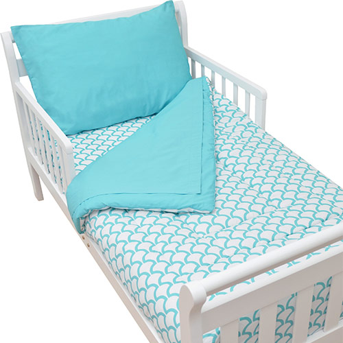 American Baby Company Toddler 4 Piece Bedding Set, Aqua Sea Wave