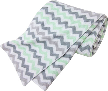 American Baby Company Cotton Sweater Blanket, Celery Grey ZigZag