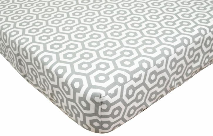American Baby Company Gray Honeycomb Percale Crib Sheet