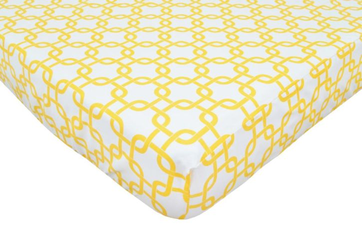 American Baby Company Golden Yellow Twill Percale Crib Sheet