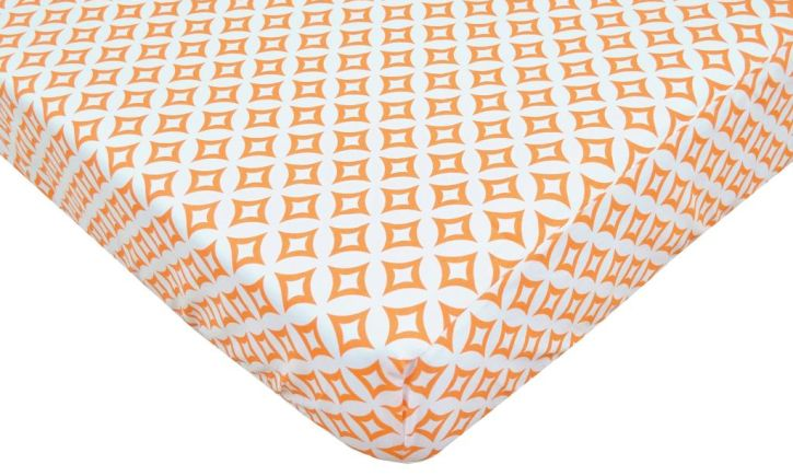 American Baby Company Orange Tweedle Dee Tile Percale Crib Sheet