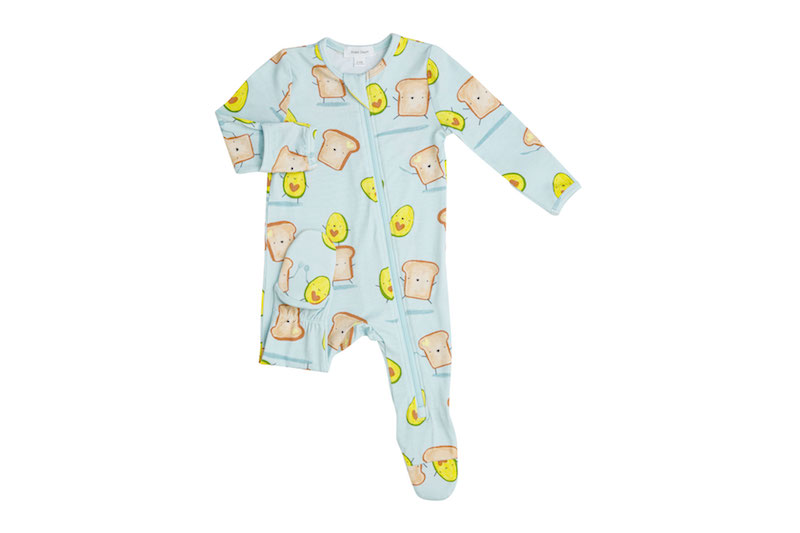 Angel Dear Avocado + Toast Blue Zipper Footie - 0-3 Months
