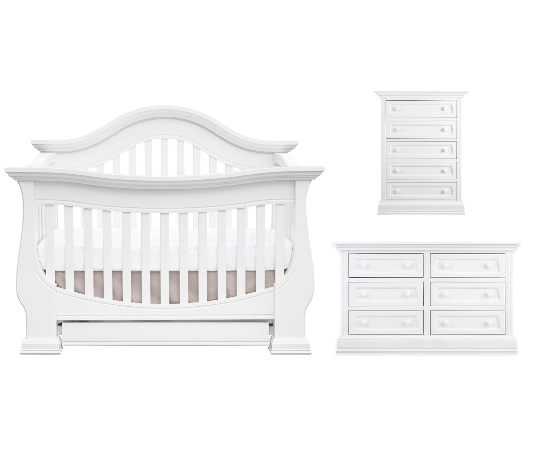 Baby Appleseed Davenport 3 Piece Set - Pure White