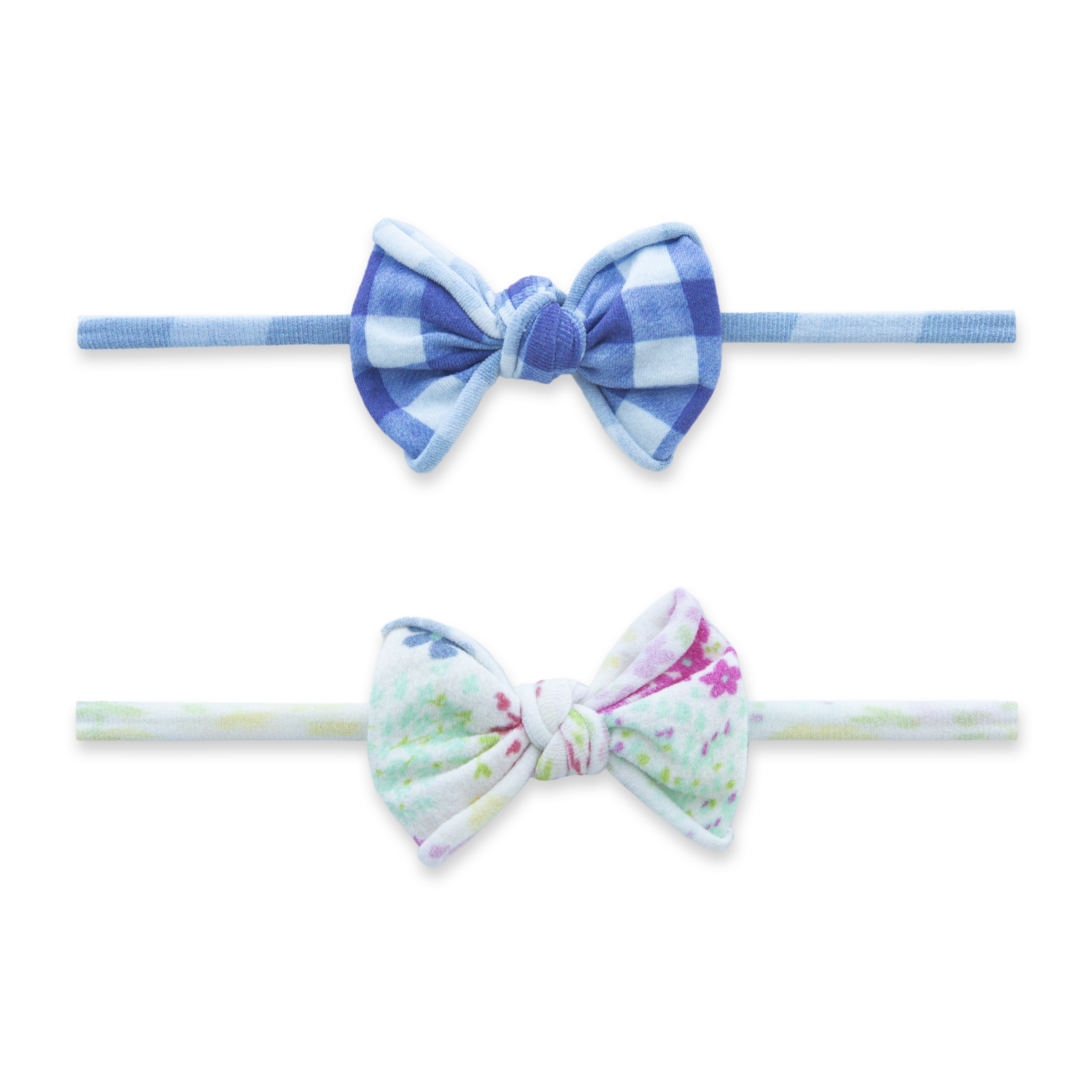 Baby Bling Bows 2 Pack Mini Print Skinny Headband - Denim Ditsy