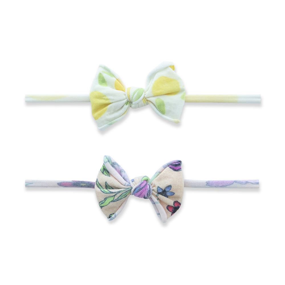 Baby Bling Bows 2 Pack Mini Print Skinny Headband - Sweet Citrus