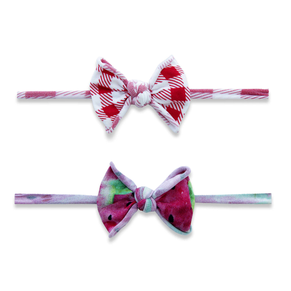 Baby Bling Bows 2 Pack Mini Print Skinny Headband - Melon Picnic