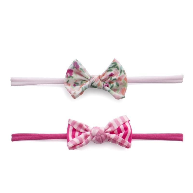 Baby Bling Bows 2PK Mini Print Headband Floral / Hot Pink