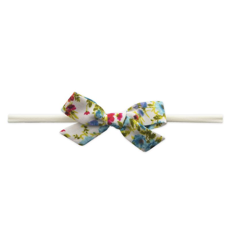 Baby Bling Bows Cotton Printed Headband - Turquoise Floral