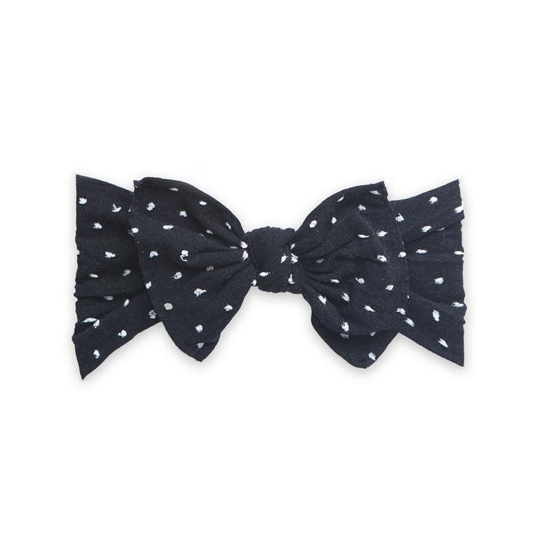 Baby Bling Bows Patterned Knot Headband Shabby Black Dot