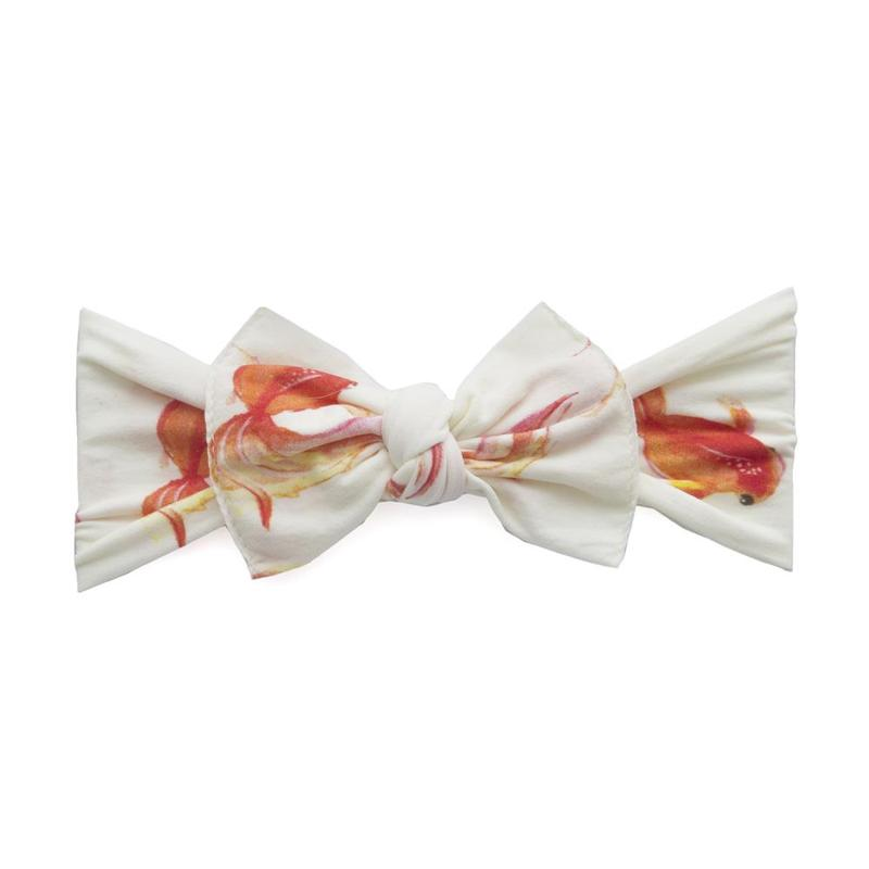 Baby Bling Bows Printed Knot Headband - Goldie