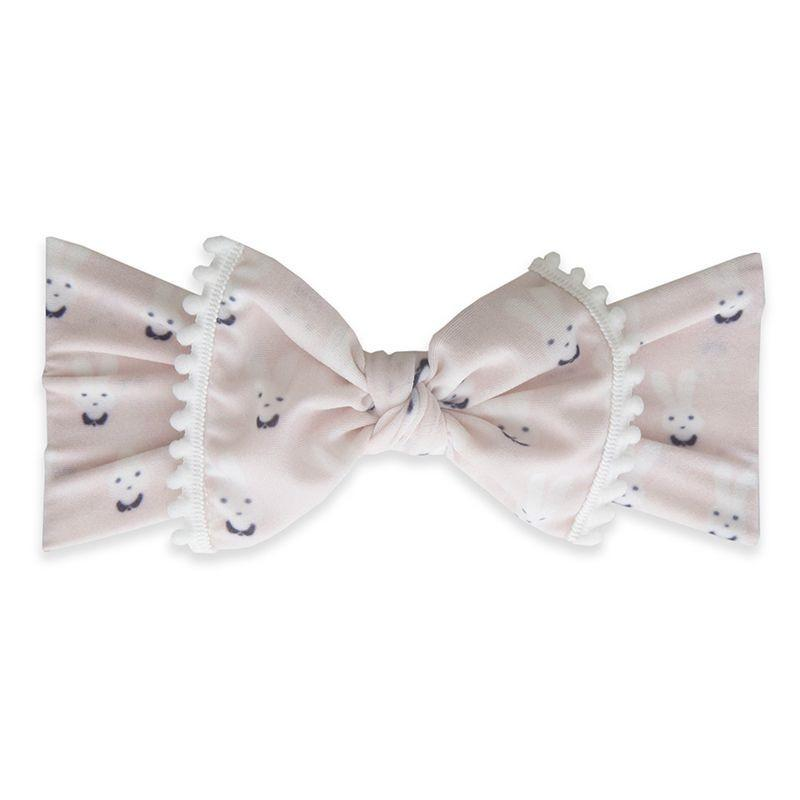 Baby Bling Bows Trimmed Printed Knot Bunny White Pom
