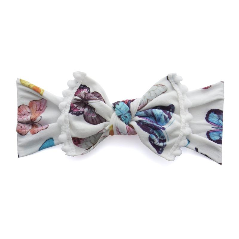 Baby Bling Bows Trimmed Printed Knot Butterfly Chart White Pom