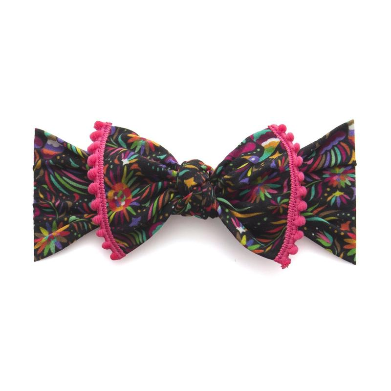 Baby Bling Bows Trimmed Printed Knot Cinco Bird Hot Pink Pom