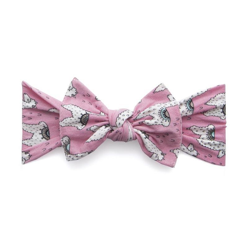 Baby Bling Bows Printed Knot Headband in Pink Llama