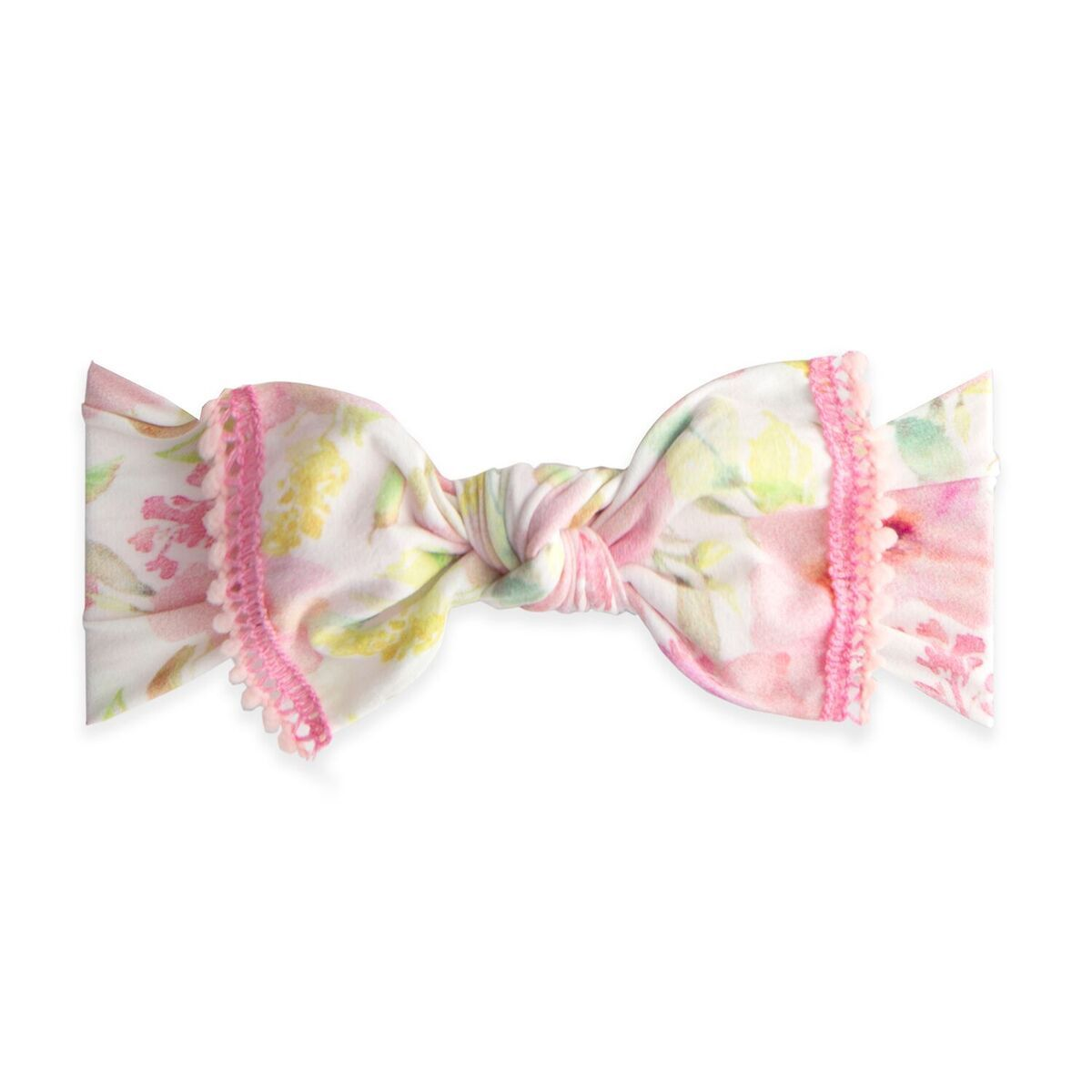 Baby Bling Bows Trimmed Printed Knot Headband in Posey