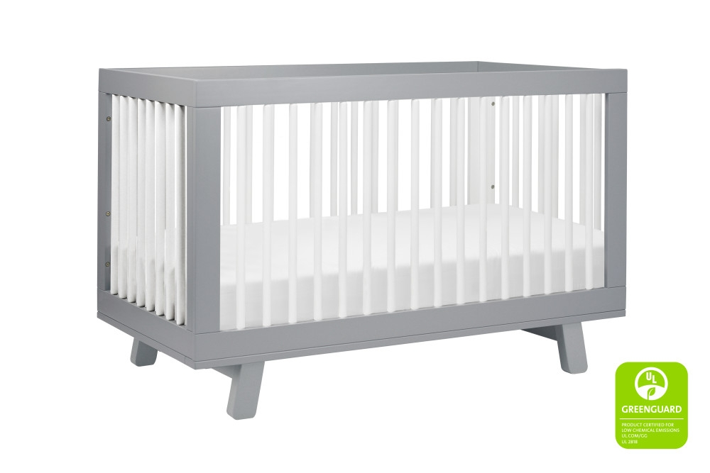 BabyLetto Hudson 3 in 1 Convertible Crib, Grey and White