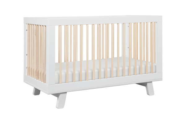 Babyletto Hudson 3 in 1 Convertible Crib, White and Natural