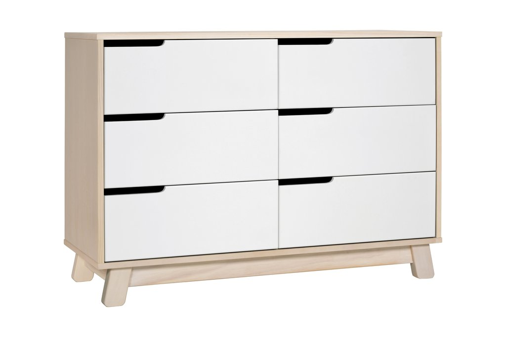 BabyLetto Hudson 6 Drawer in Washed Natural and White