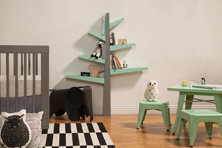 BabyLetto Spruce Tree Bookcase, Grey with Mint