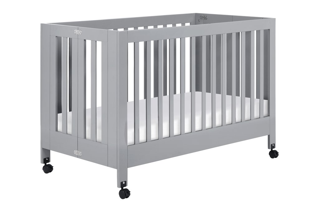 BabyLetto Maki Full Size Folding Crib, Grey