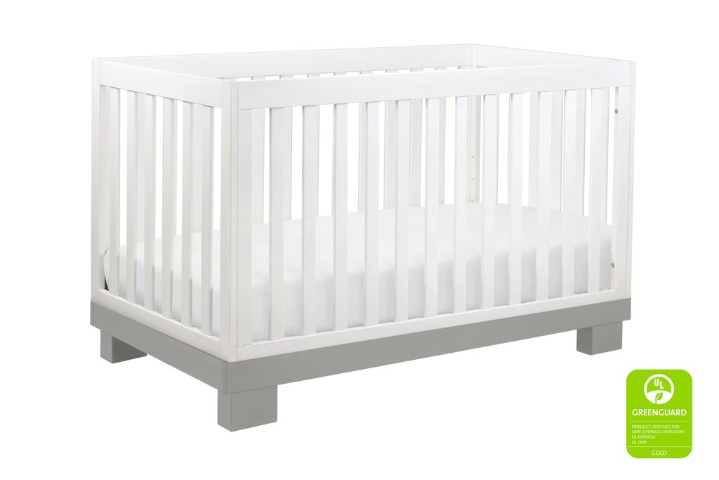 BabyLetto Modo 3-in-1 Convertible Crib - Grey / White