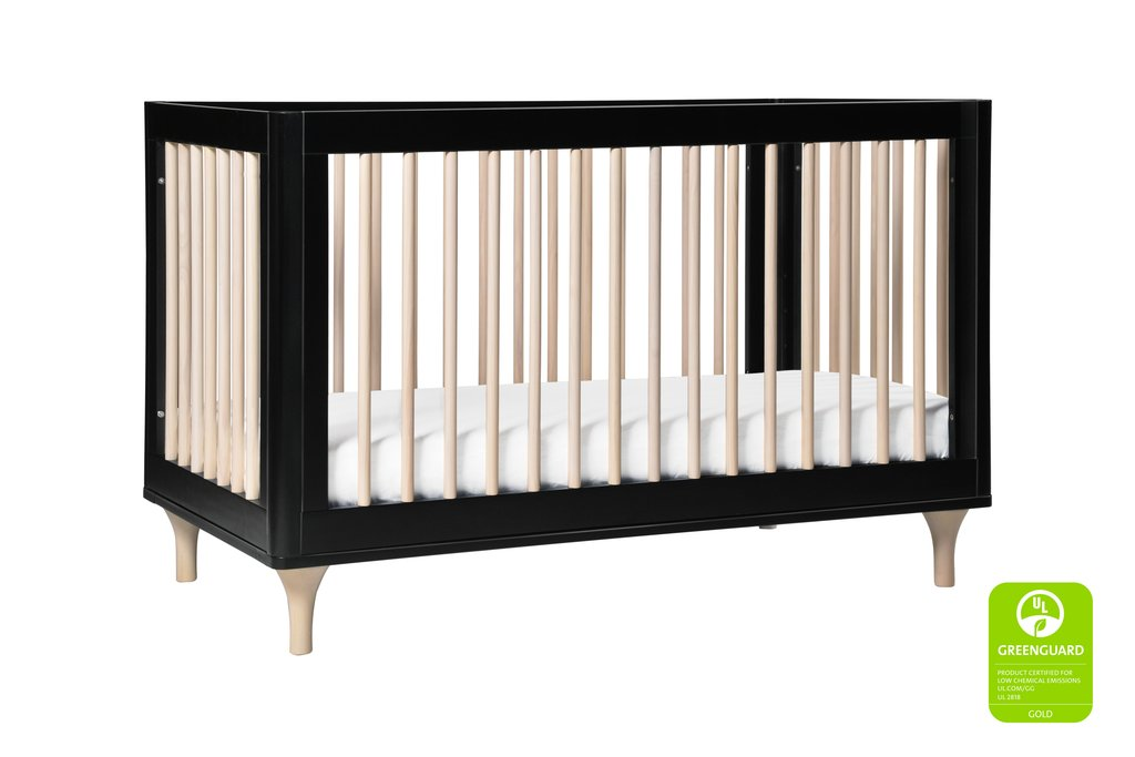 BabyLetto Lolly 3 in 1 Crib, Black and Washed Natural