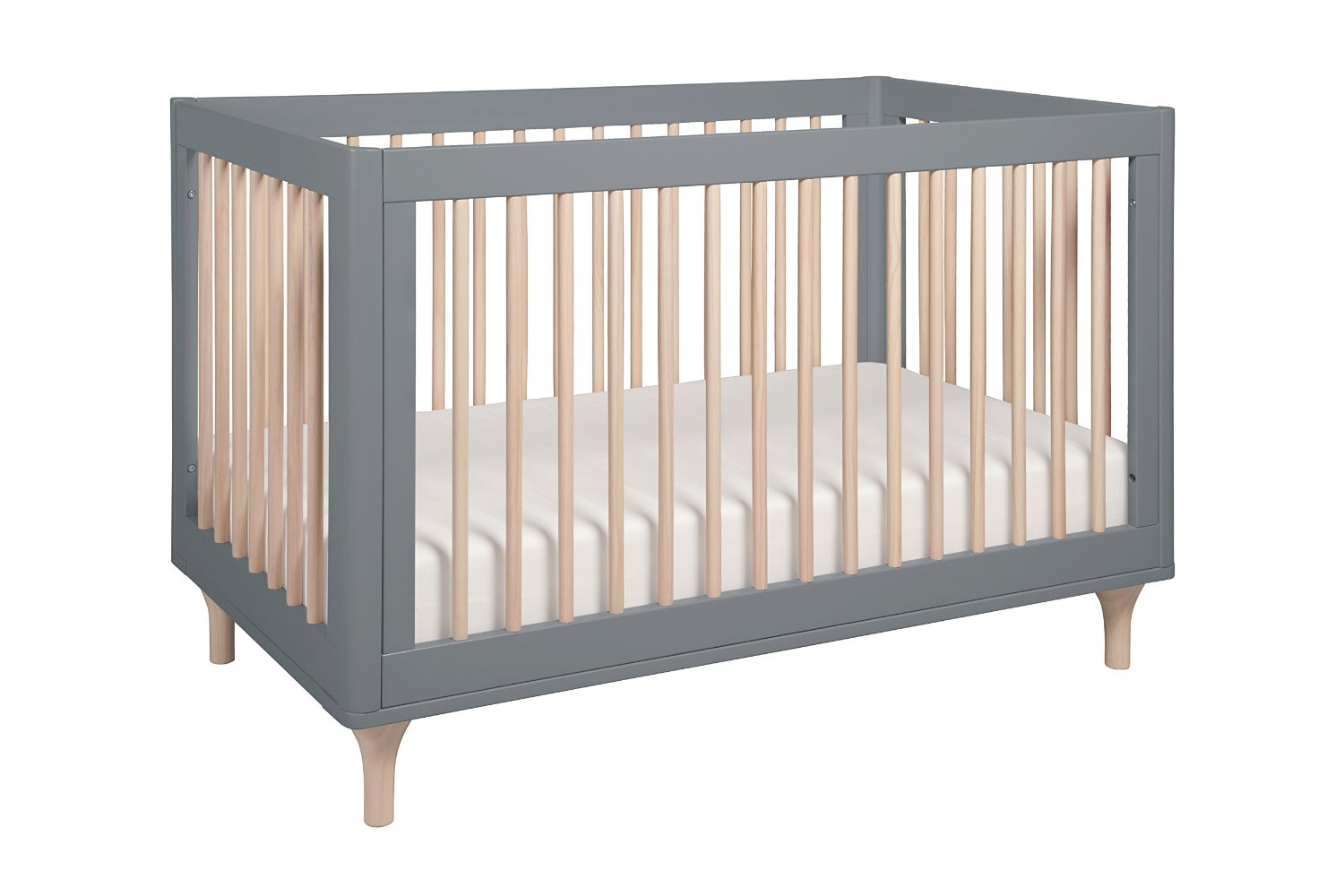 BabyLetto Lolly 3 in 1 Convertible Crib, Grey and Natural