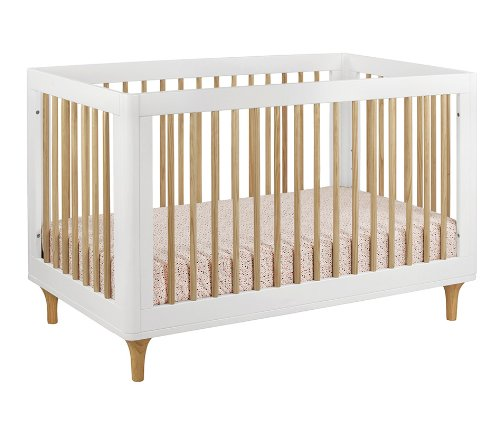 BabyLetto Lolly 3 in 1 Convertible Crib, White and Natural