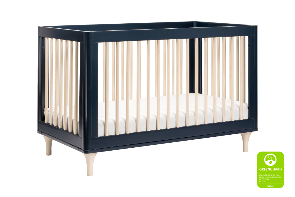 BabyLetto Lolly 3 in 1 Convertible Crib, Navy and Natural