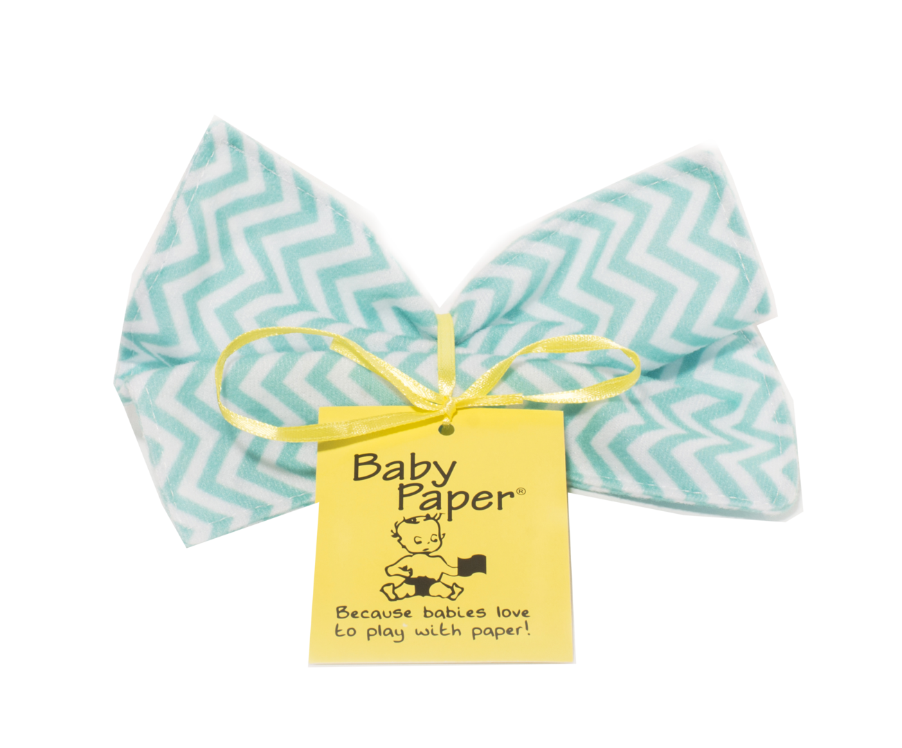 Baby Paper Crinkly Baby Toy - Turquoise Zig Zag