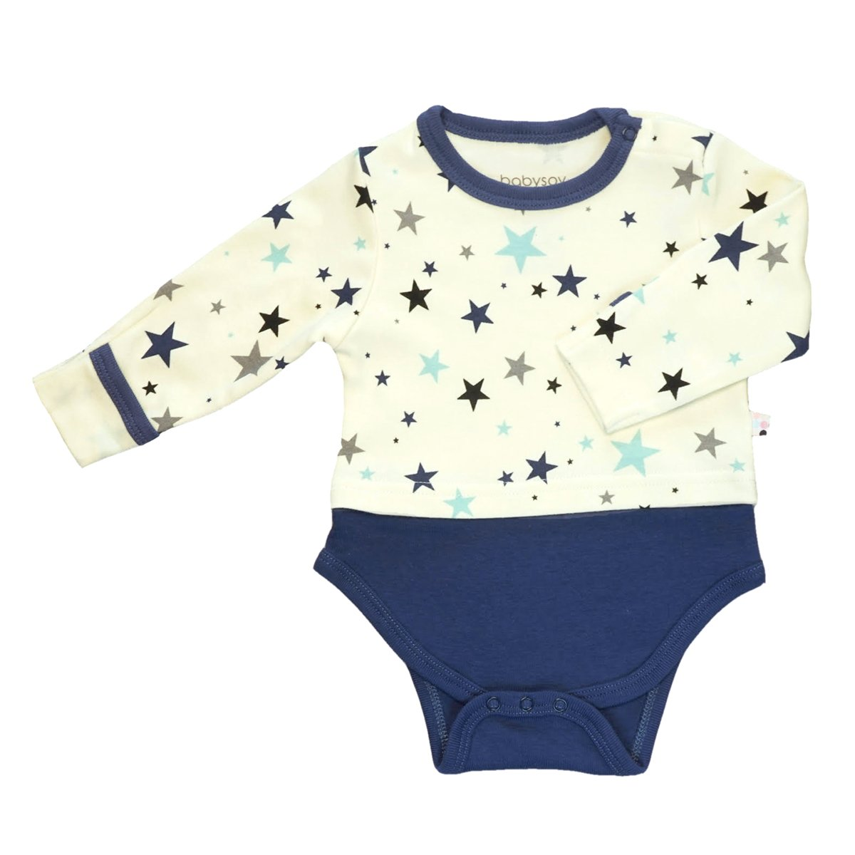 Babysoy Long Sleeve Star Indigo Bodysuit in 0-3 Months