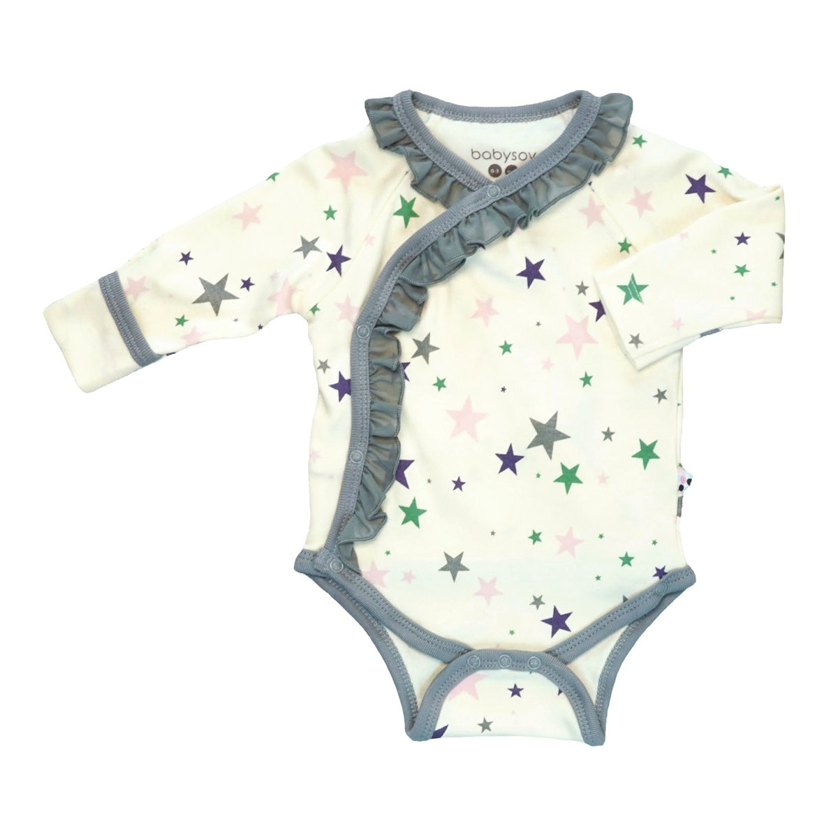 BabySoy Star Long Sleeve Ruffle Bodysuit in Thunder, 0-3 Months