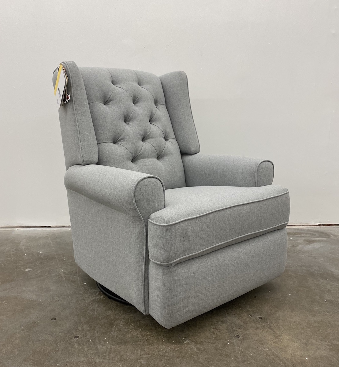 Best Chairs Kendra Tufted Swivel Glider Recliner in Dove Grey