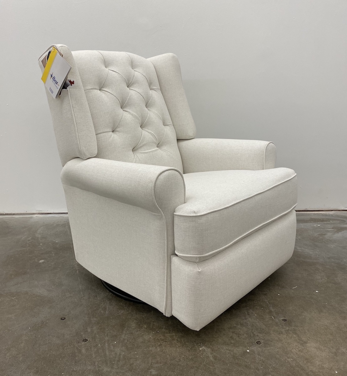Best Chairs Kendra Tufted Swivel Glider Recliner in Snow