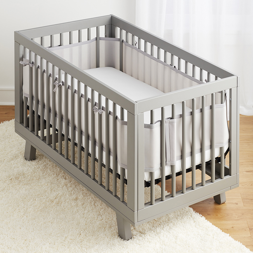 Breathable Baby Mesh Crib Liner - Grey