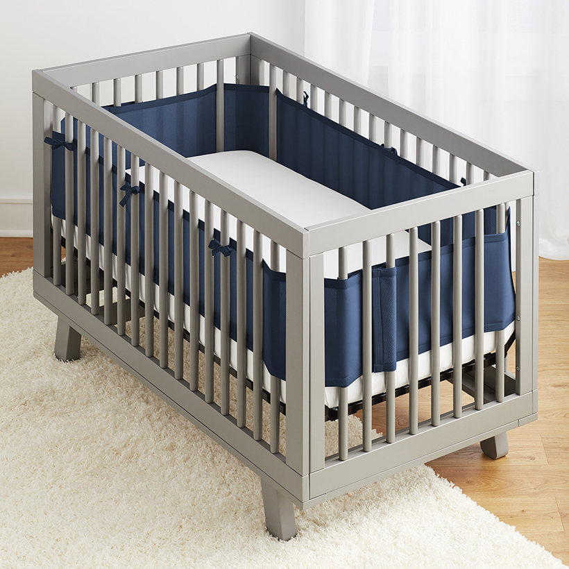 Breathable Baby Mesh Crib Liner - Navy