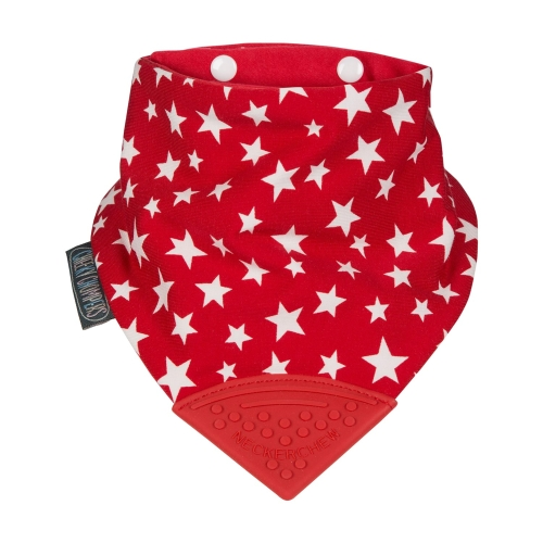 Cheeky Chompers Neckerchew Teething Bib, Red Stars