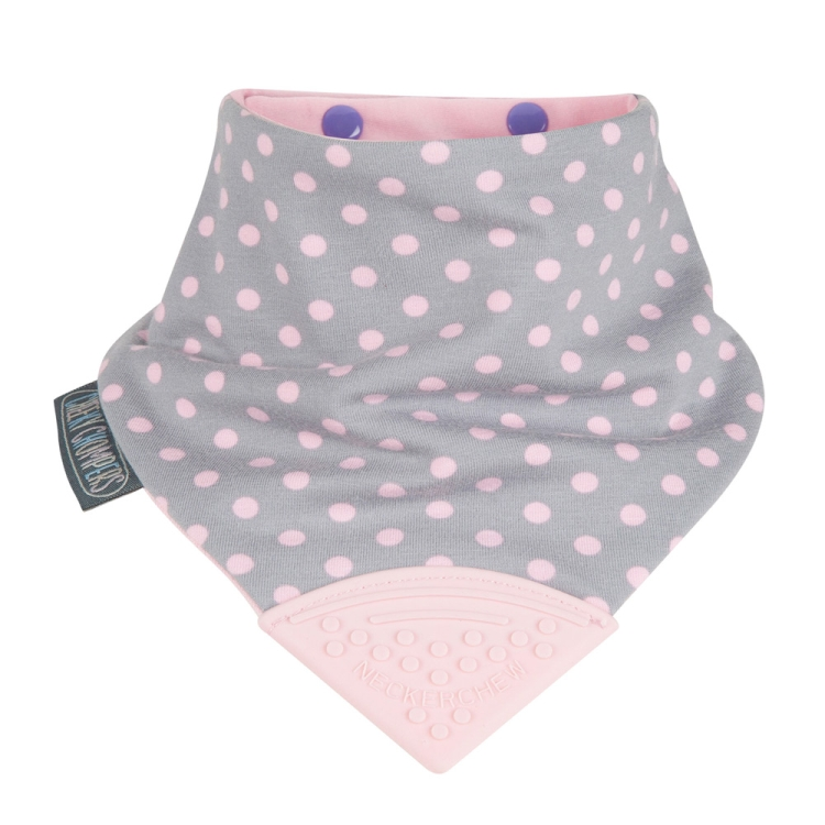 Cheeky Chompers Neckerchew 2-In-1 Teething Bib, Polka Dot Pink