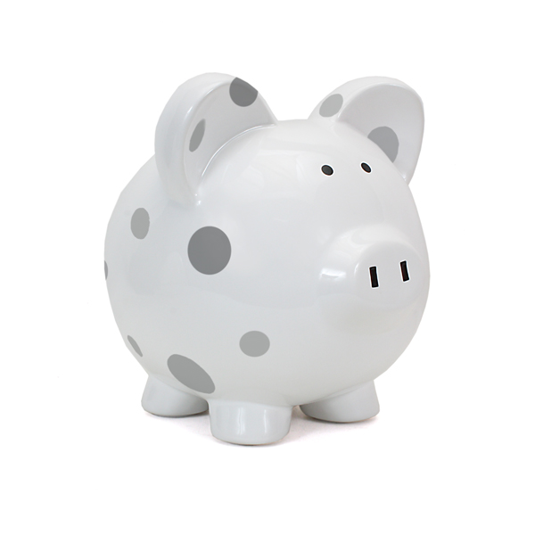 Child to Cherish Grey Dots Piggy Bank