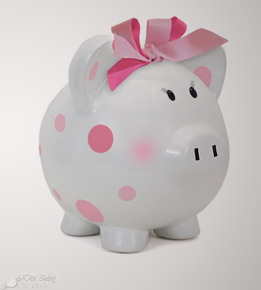 Child to Cherish Pink Dots Piggy Bank