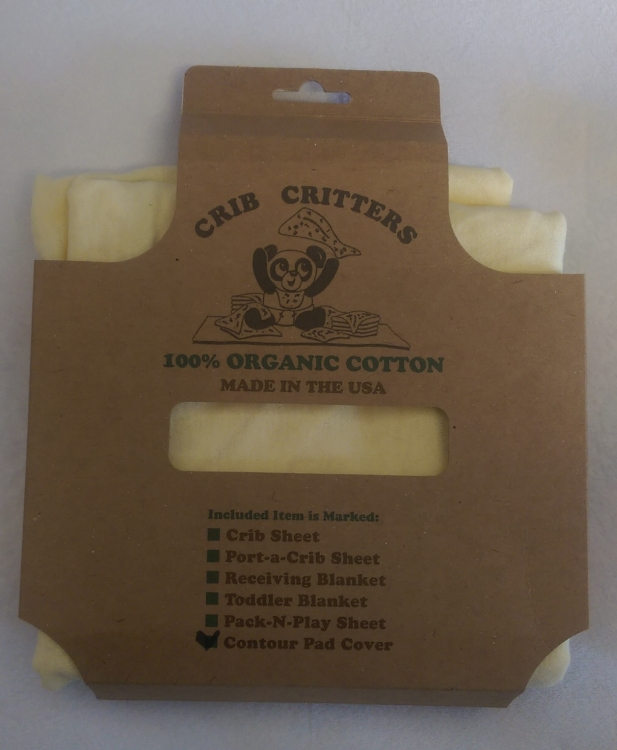 Crib Critters Organic Contour Changing Pad Cover, Yellow