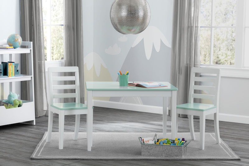 Delta Gateway Kids Table & Chair Set in White and Aqua