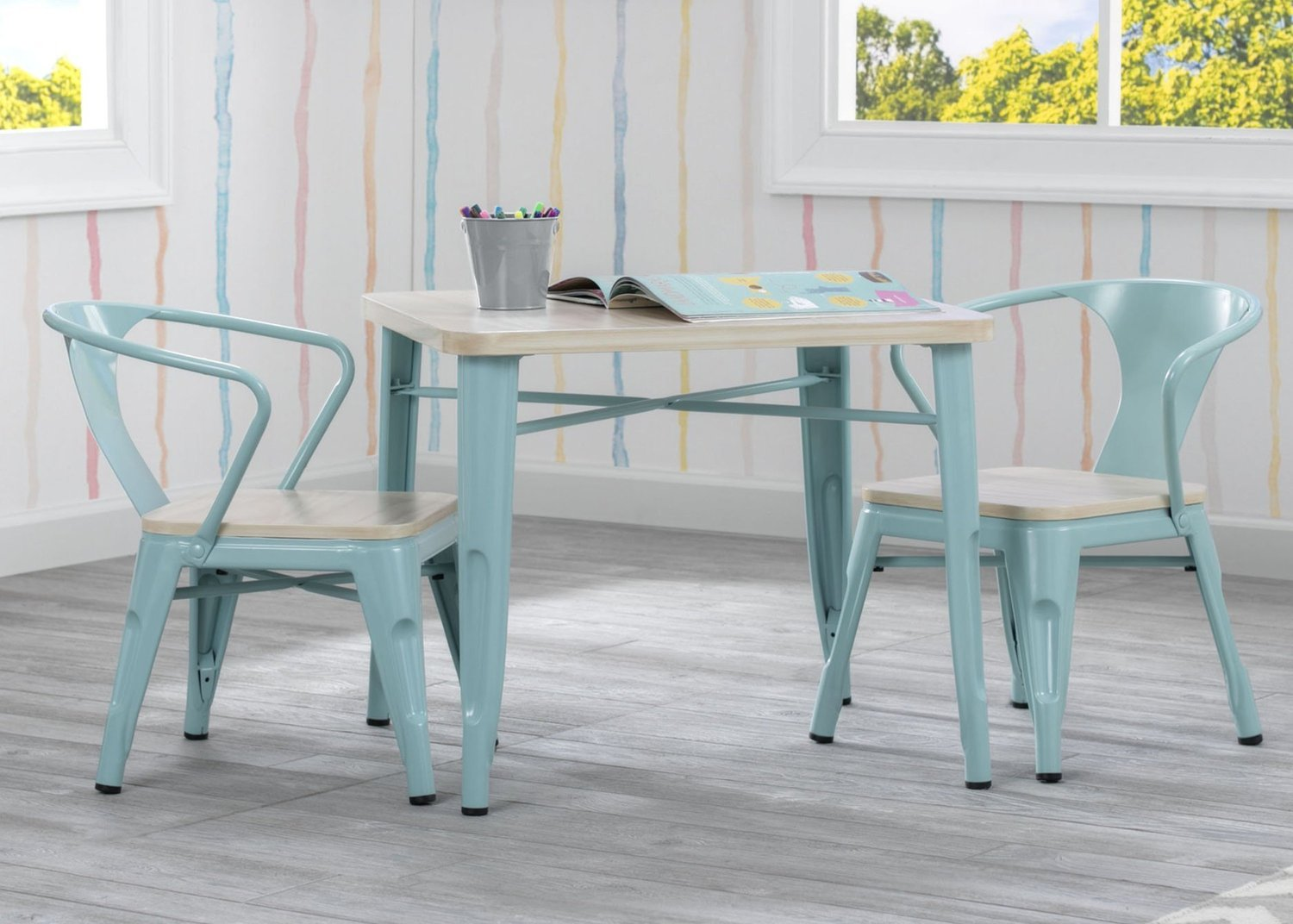 Delta Bistro Kids Table and Chair Set in Aqua and Natural
