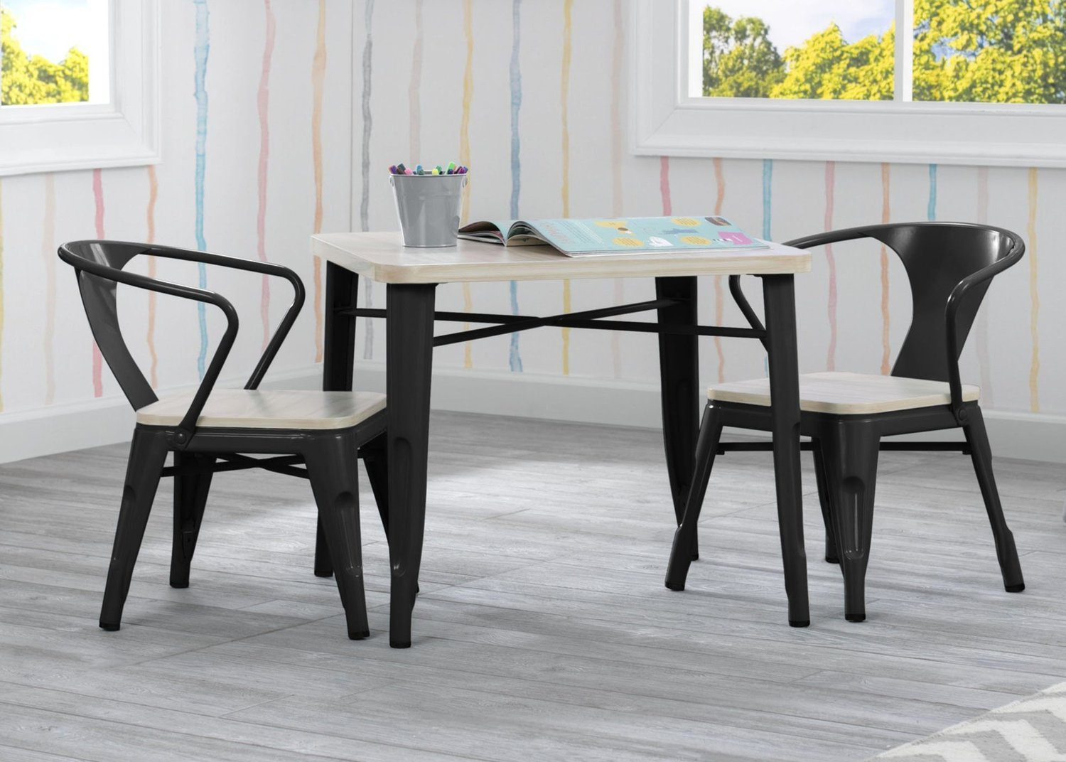 Delta Bistro Kids Table and Chair Set in Black and Natural