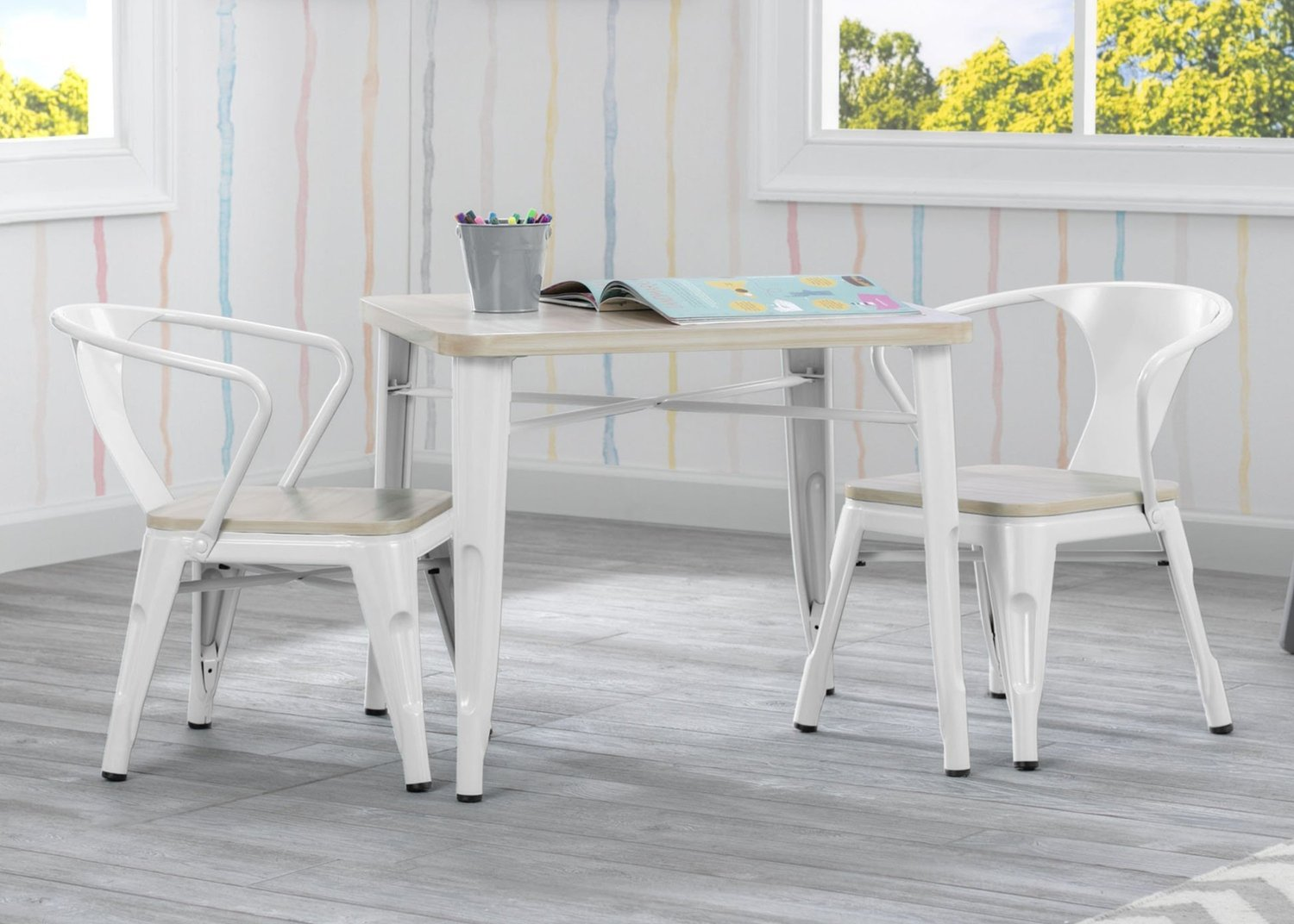 Delta Bistro Kids Table and Chair Set in White and Natural