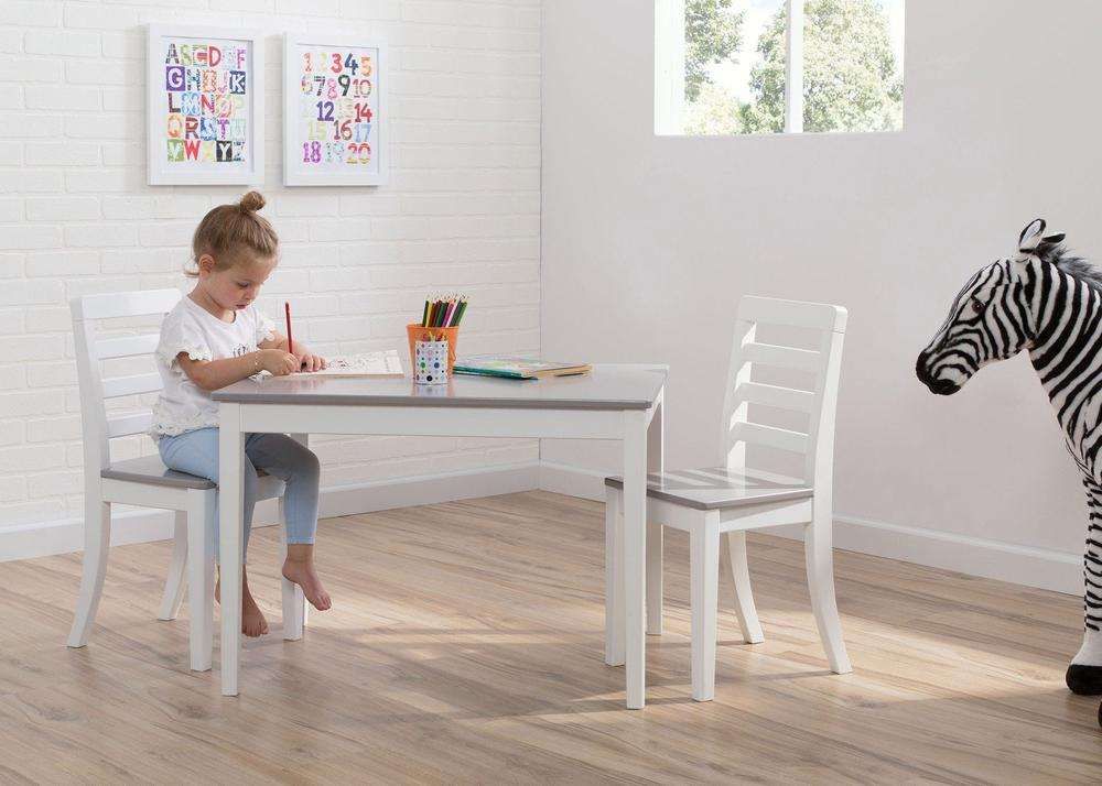 Delta Gateway Kids Table & Chair Set in White and Gray