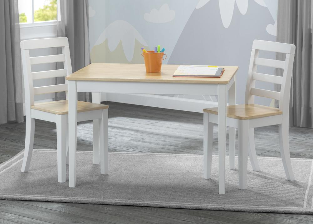 Delta Gateway Kids Table & Chair Set in White and Natural