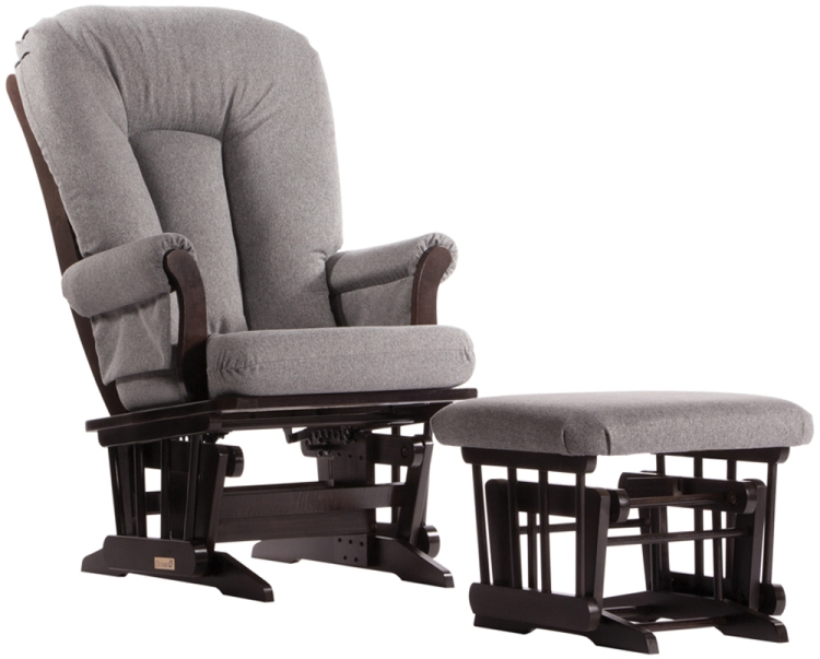 Dutailier Stock Sleigh Glider Ottoman Combo Espresso w/ Charcoal
