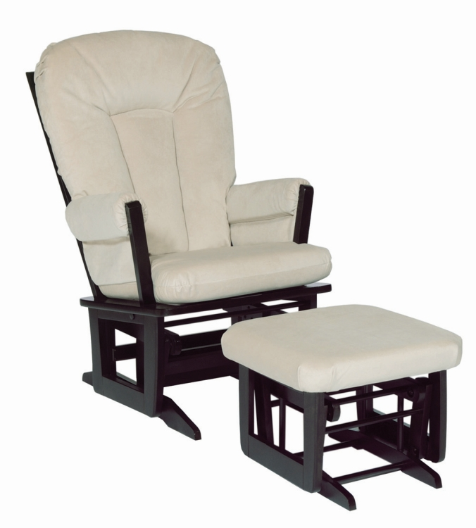 Marvelous Dutailier Modern Glider And Ottoman Espresso With Beige Pad Short Links Chair Design For Home Short Linksinfo