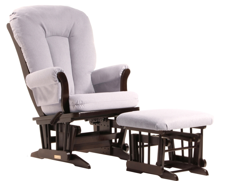 Dutailier Reclining Glider and Ottoman, Espresso with Grey Pad